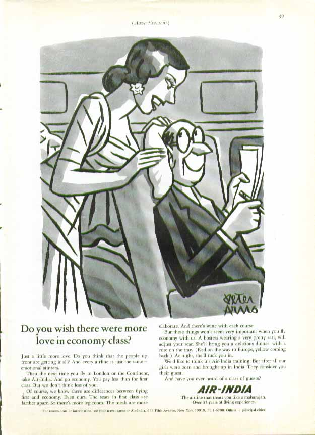 Wish there were more love in Economy Class? Air-India ad 1966 Peter Arno