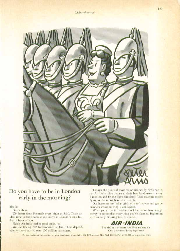 Do you need to be in London early in the morning? Air-India ad 1966 Peter Arno