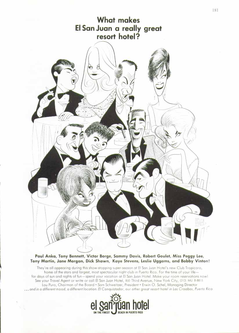 Image for What makes El San Juan a great hotel? ad 1966 Hirschfeld art Anka Goulet Uggams