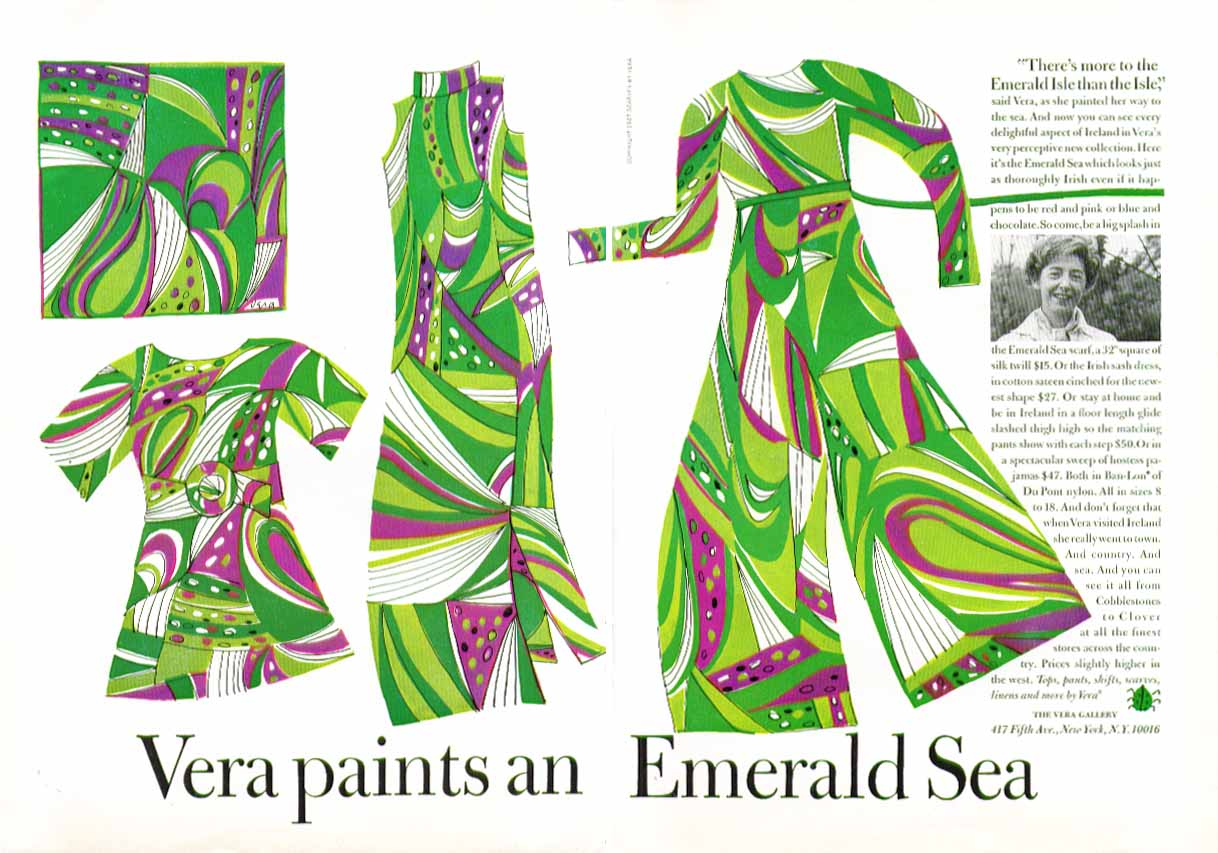 Vera paints an Emerald Sea scarves ad 1967