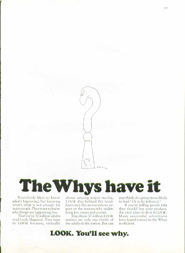 The Whys have it. LOOK magazine ad 1969 Blechman art