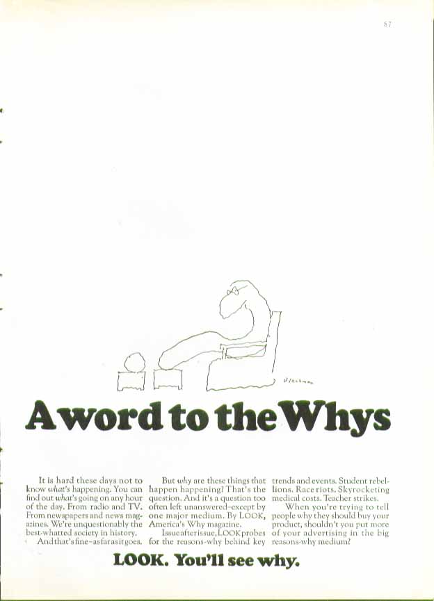 A word to the Whys. LOOK Magazine ad 1969 Blechman