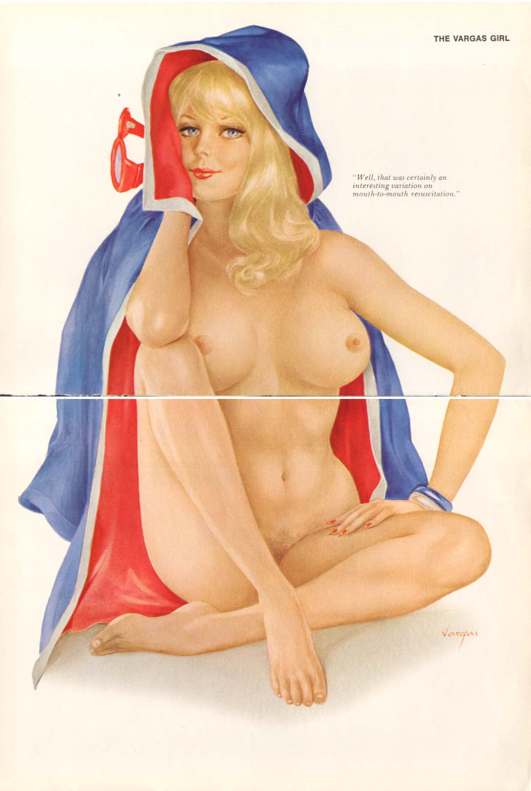 Image for Interesting mouth-to-mouth Vargas pin-up 1972
