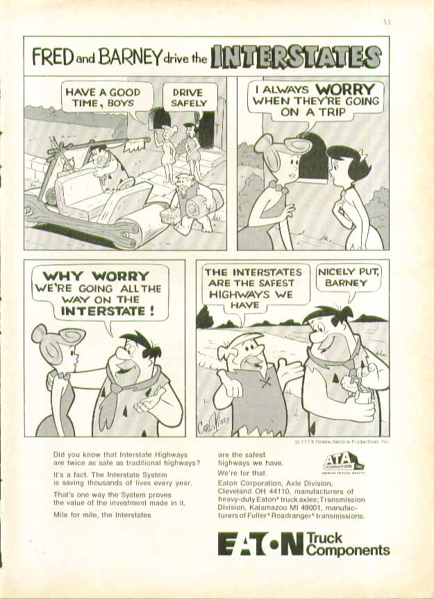 Fred & Barney drive the Interstates Eaton ad 1973 Flintstones wives worry