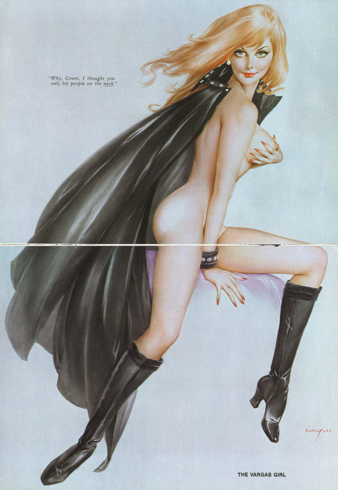 Image for Count thought you only bit the neck Vargas pin-up 1973