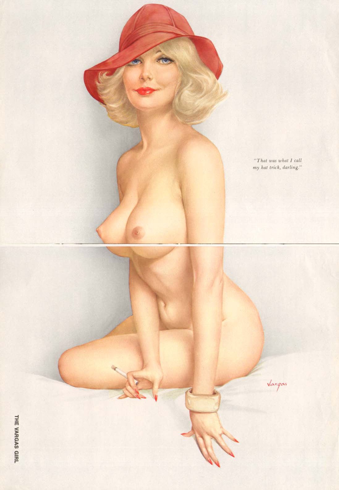 Image for That's what I call my hat trick Vargas pin-up 1973
