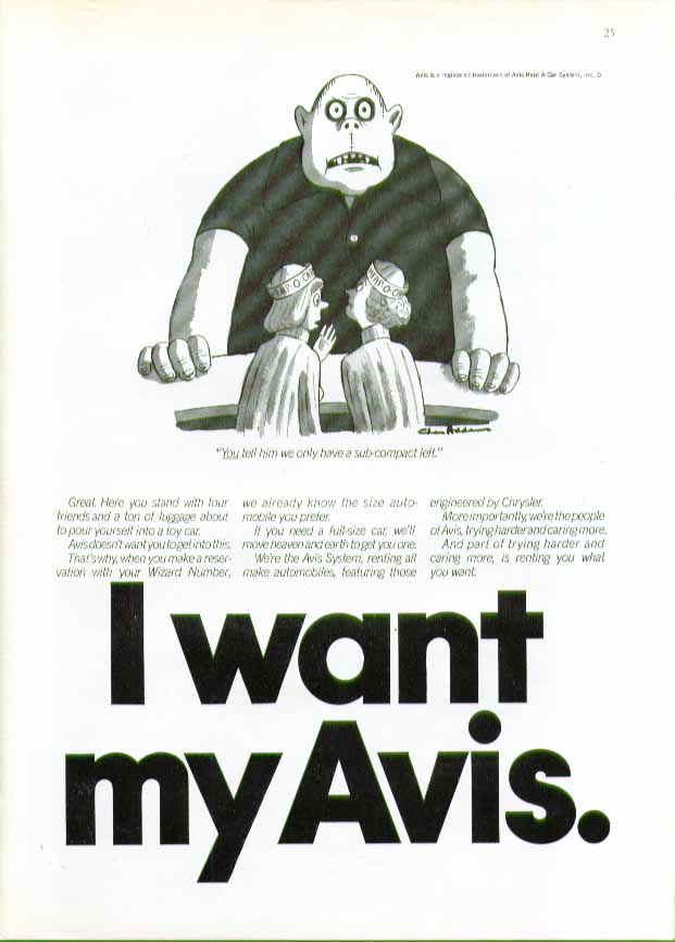 You tell him we only have one sub-compact left Avis ad 1975 Charles Addams