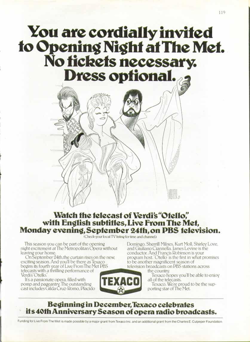 Image for You are cordially invited Texaco Metropolitan Opera ad 1979 Hirschfeld art