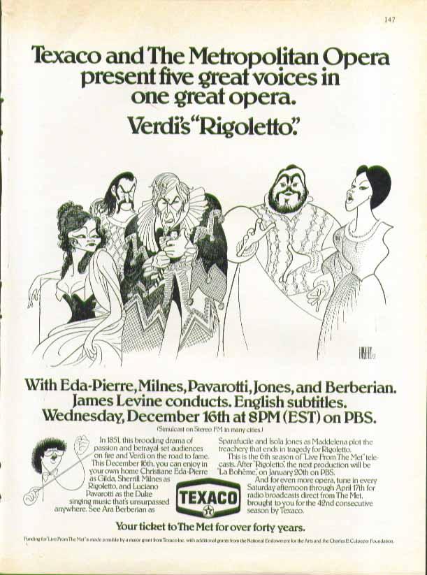Texaco Metropolitan Opera Verdi's Rigoletto ad 1981 Al Hirschfeld art