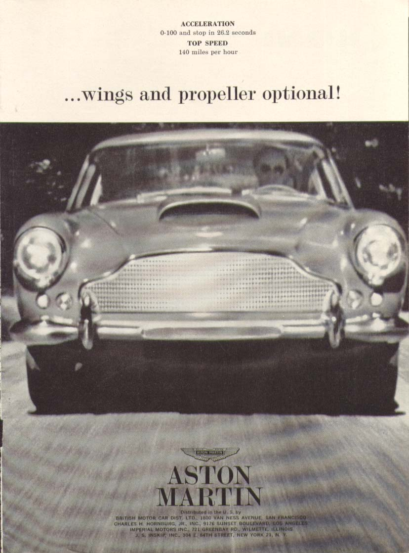 Wings & a propeller optional Aston Martin ad 1961