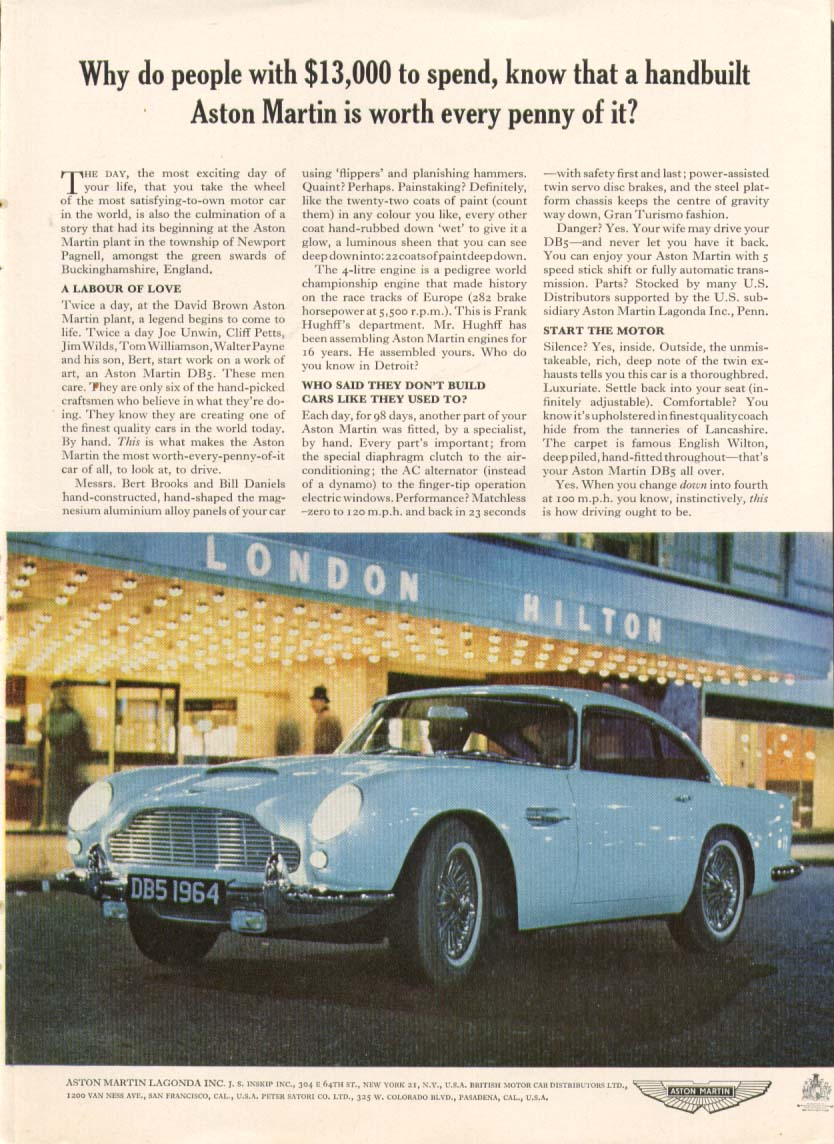 Image for Why do people with $13,000 know Aston Martin ad 1964
