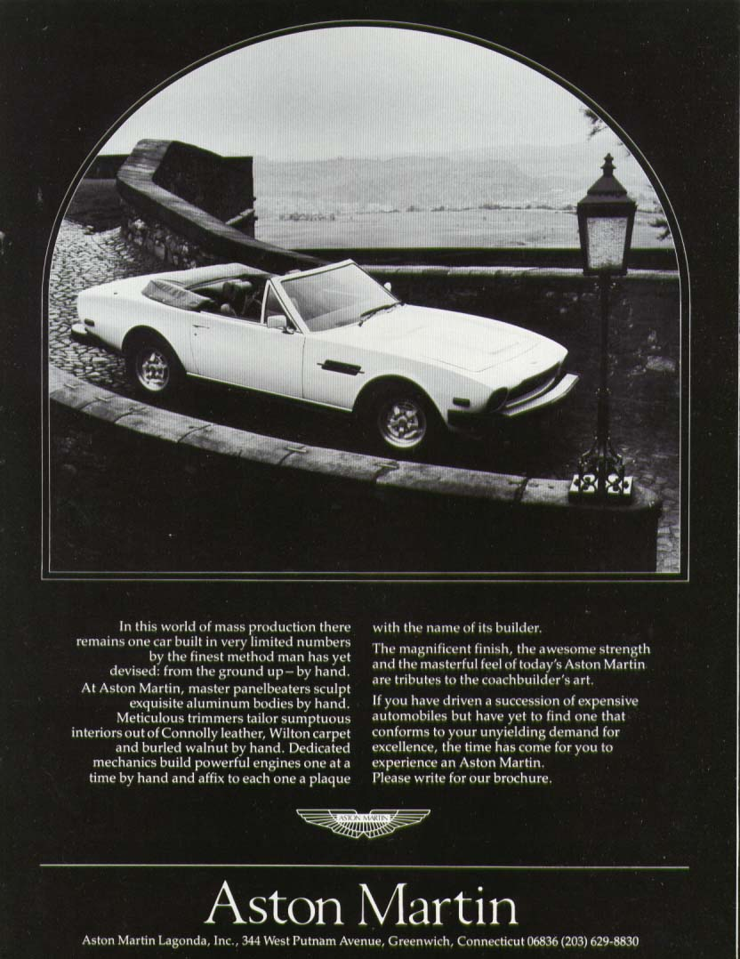 In this world of mass production Aston Martin ad 1983