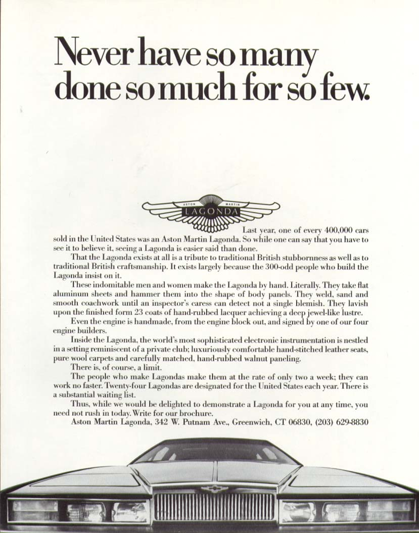 Never have so many done so much Aston Martin ad 1984