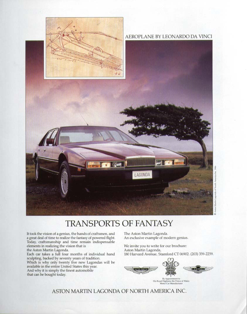 Transports of Fantasy Aston Martin Lagonda ad 1986 Leonardo da Vinci