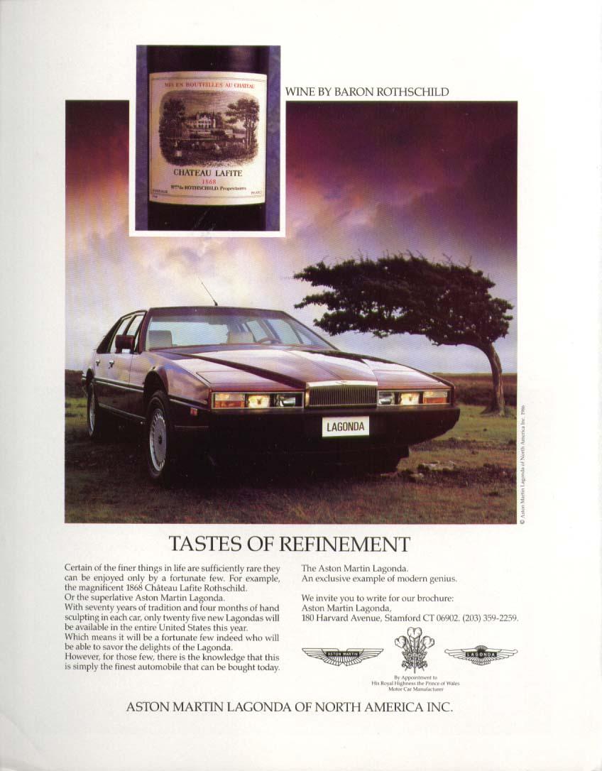 Tastes of Refinement Aston Martin Lagonda ad 1987 Baron Rothschild wine