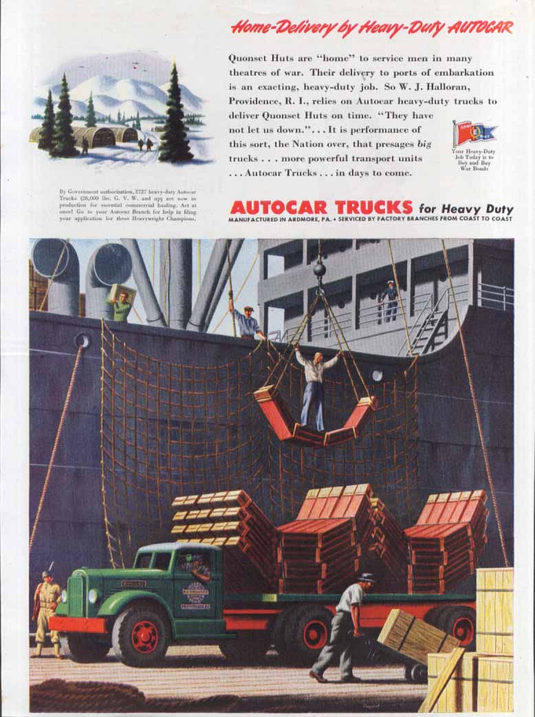 Home-Delivery Heavy-Duty Autocar W J Halloran ad 1944