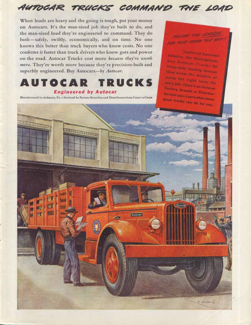 Command the load Autocar Westinghouse ad 1945