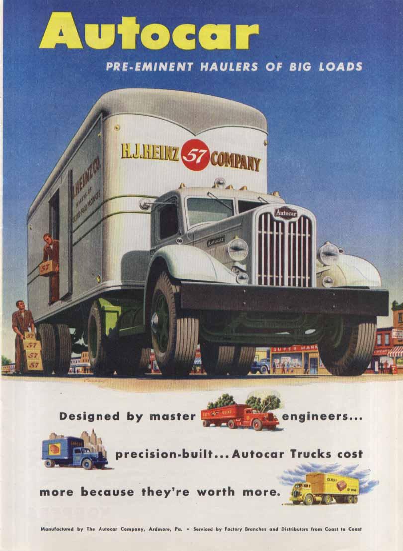 Image for Pre-eminent hauler big loads Autocar Heinz 57 ad 1946