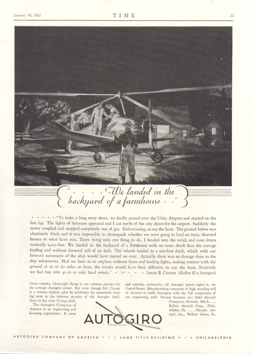 Image for We landed in backyard of a farmhouse Autogiro ad 1932