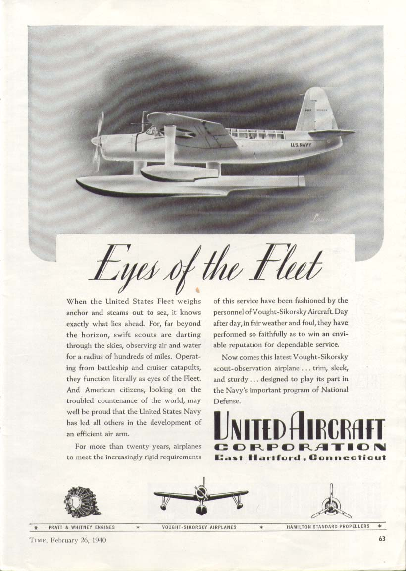 Image for Vought -Sikorsky Kingfisher United Aircraft ad 1940 #1
