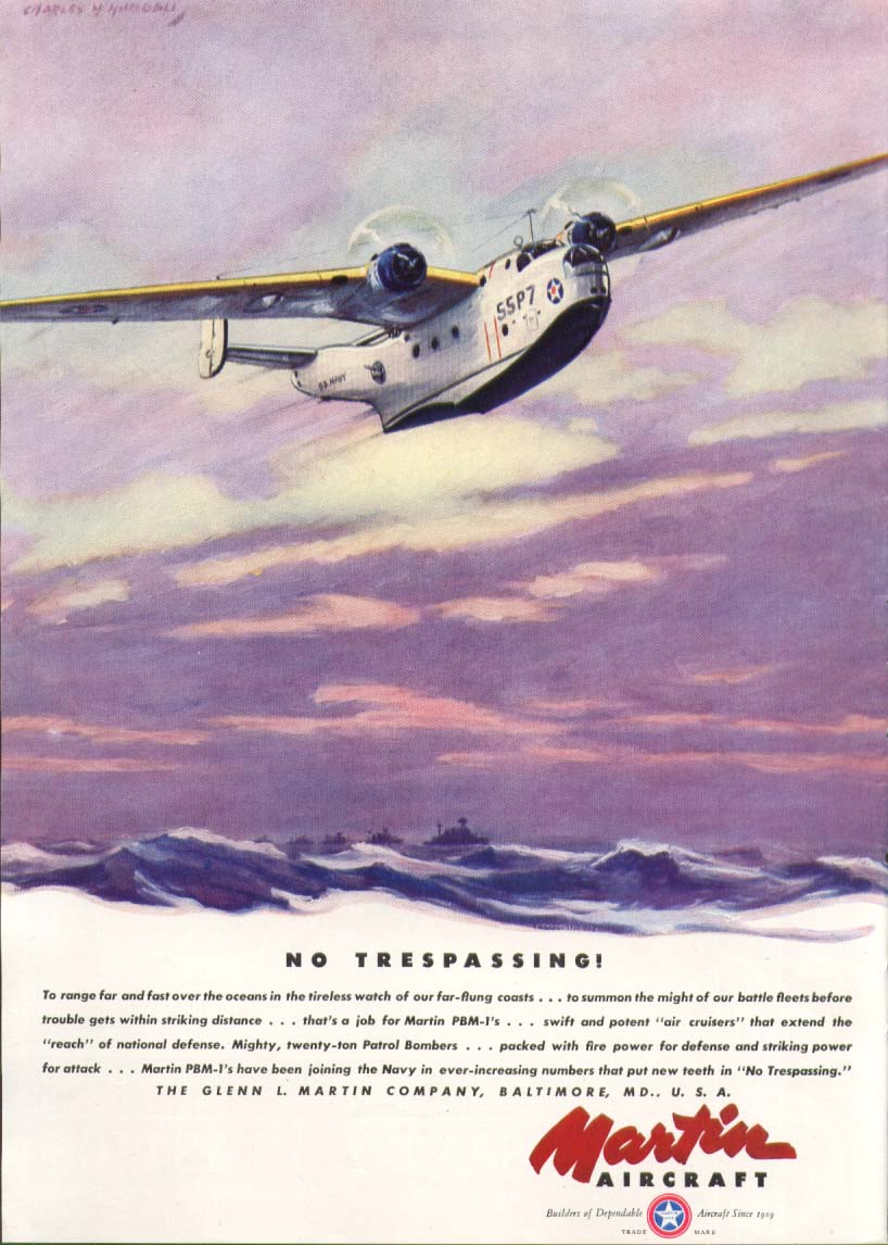 Image for No Trespassing! Martin PBM-1 ad 1941