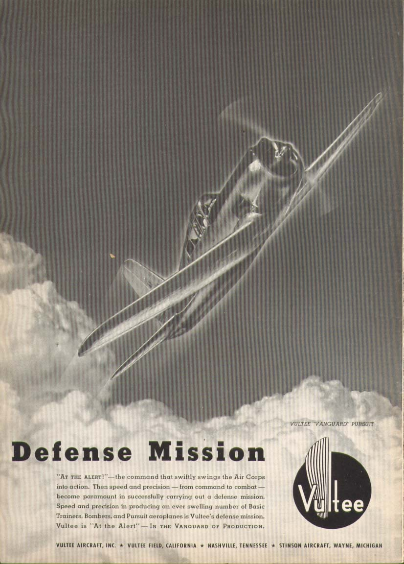Image for Defense Mission Vultee Vanguard Pursuit ad 1941