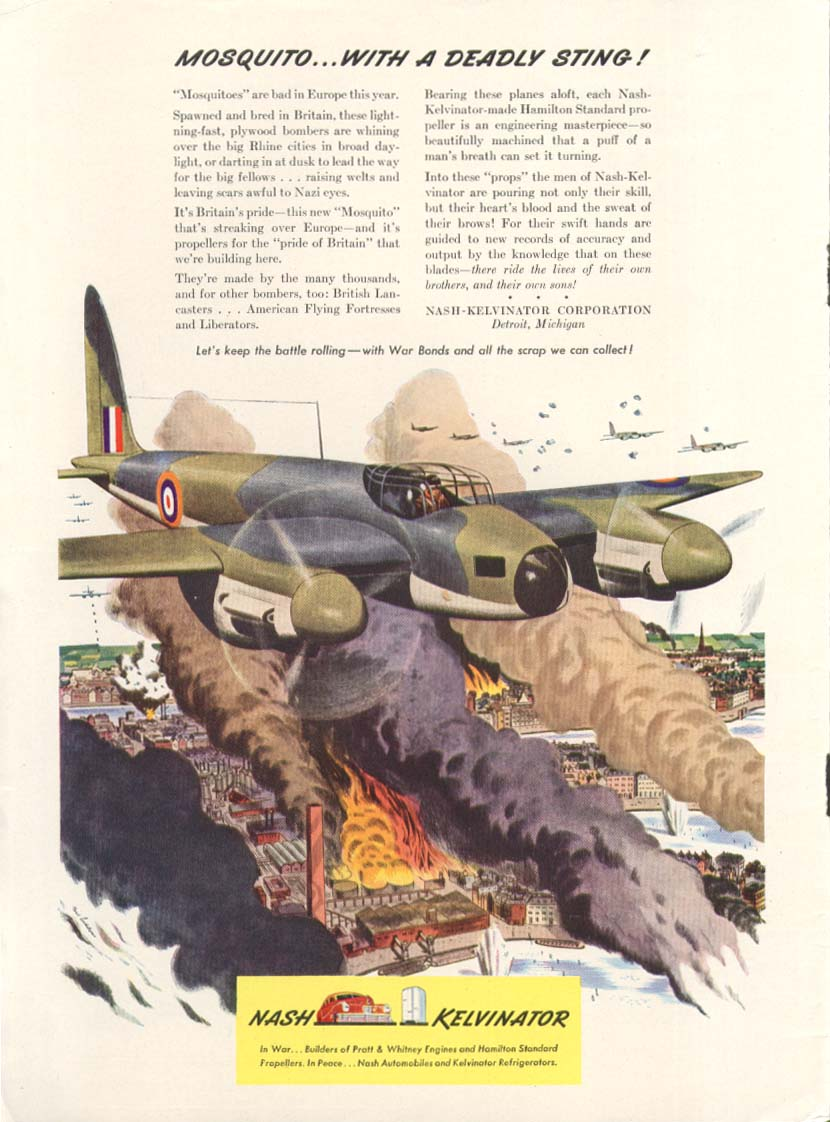 Image for deHavilland Mosquito with sting Nash Kelvinator ad 1943