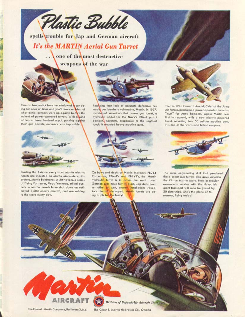 Image for Plastic Bubble: Martin Aerial Gun Turret ad 1944