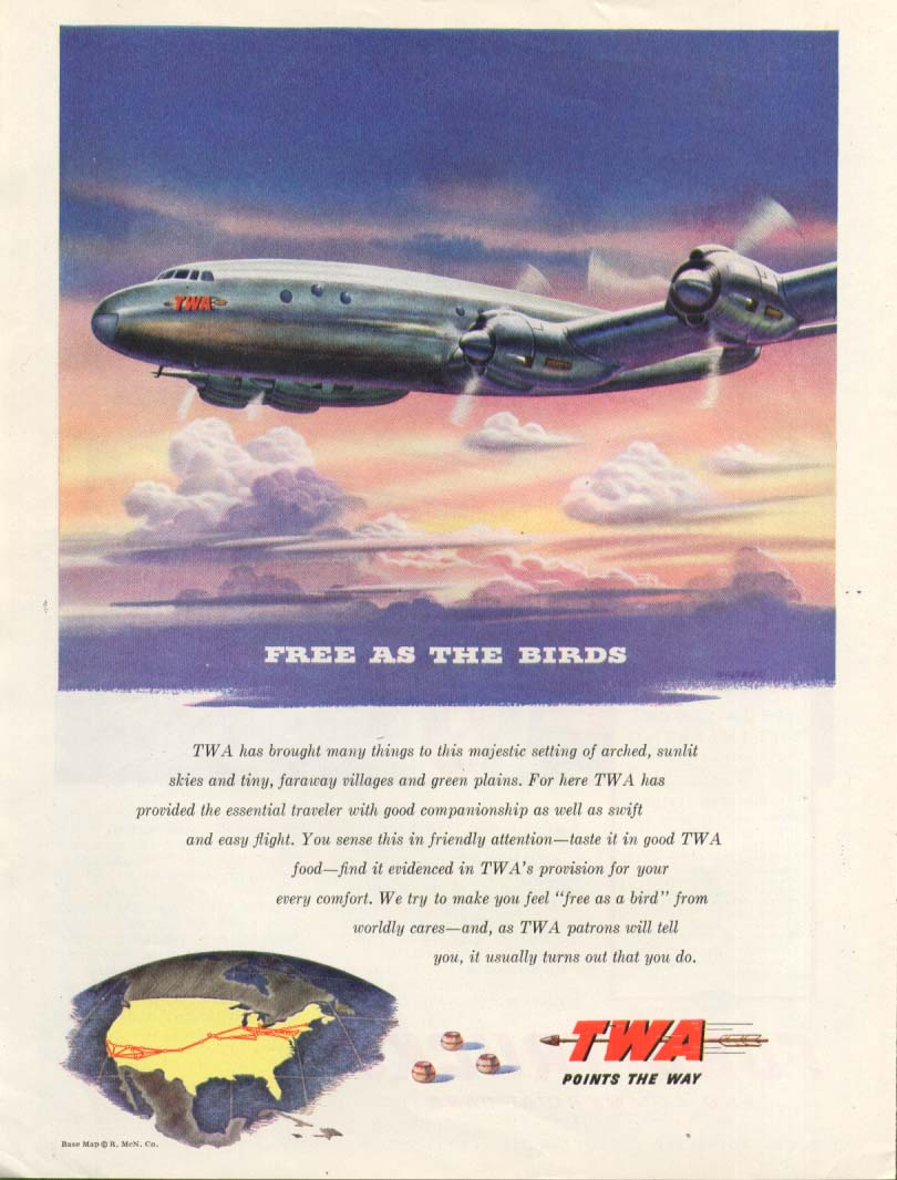 Image for Free as the Birds TWA Constellation ad 1945