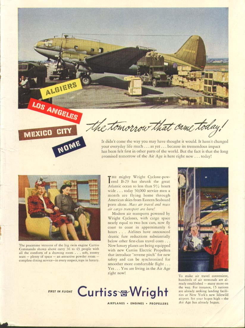 Image for Tomorrow came today Curtiss Wright Commando ad 1945