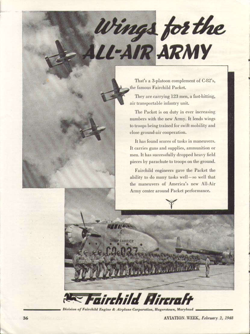 Image for Wings for All-Air Army Fairchild C-82 Packet ad 1948
