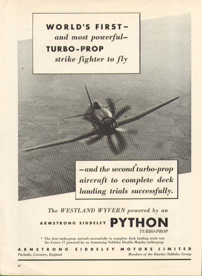 Image for Armstrong Siddeley Python Turbo-Prop ad 1950