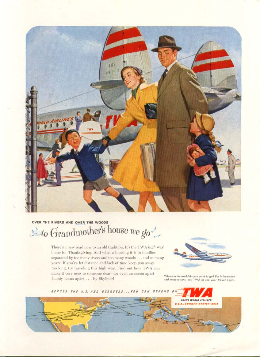 Image for To Grandmother's house TWA Constellation ad 1951