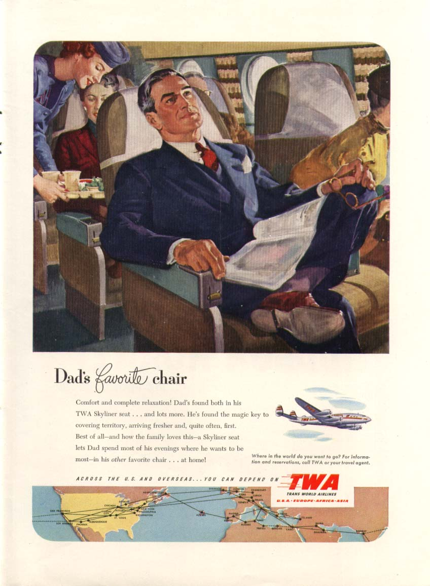 Image for Dad's favorite chair TWA Constellation ad 1951