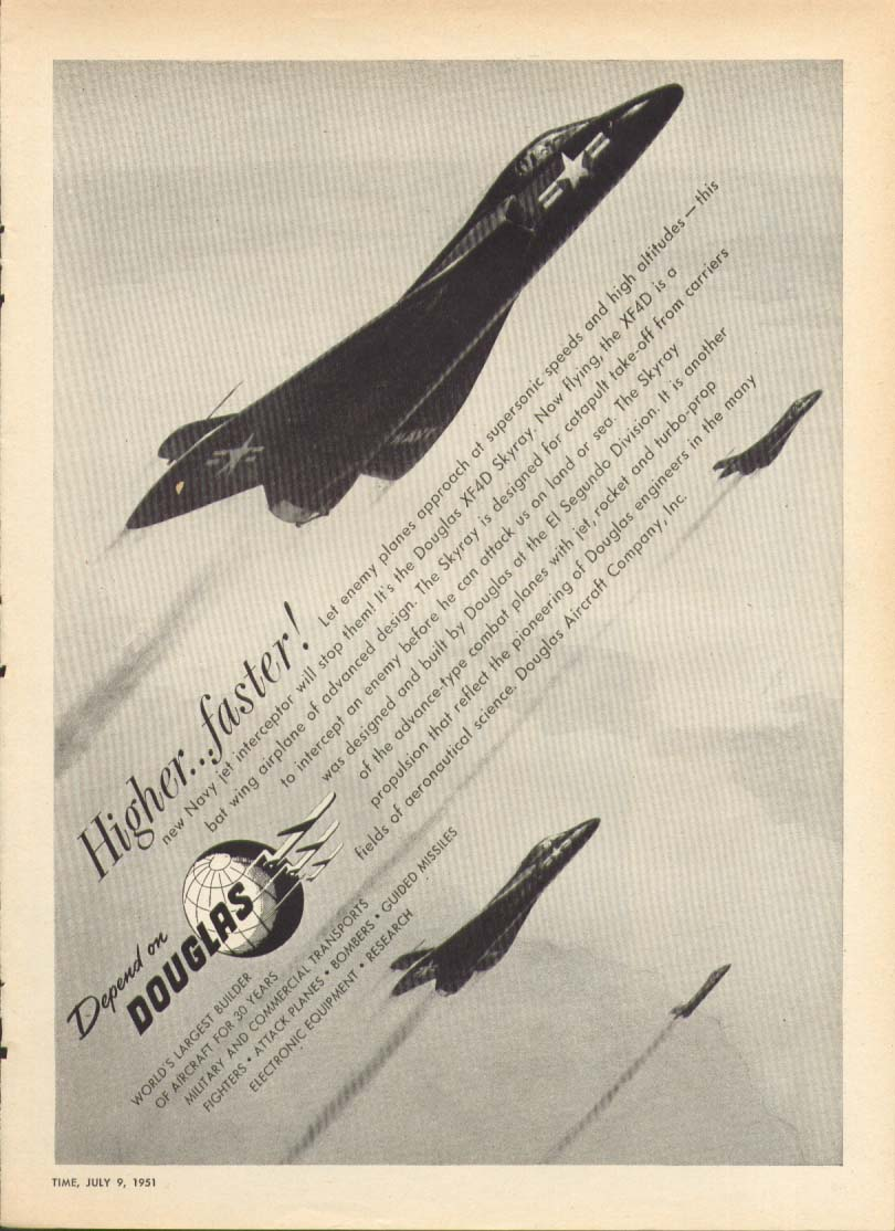 Image for Higher . . . Faster! Douglas XF4D Skyray ad 1951