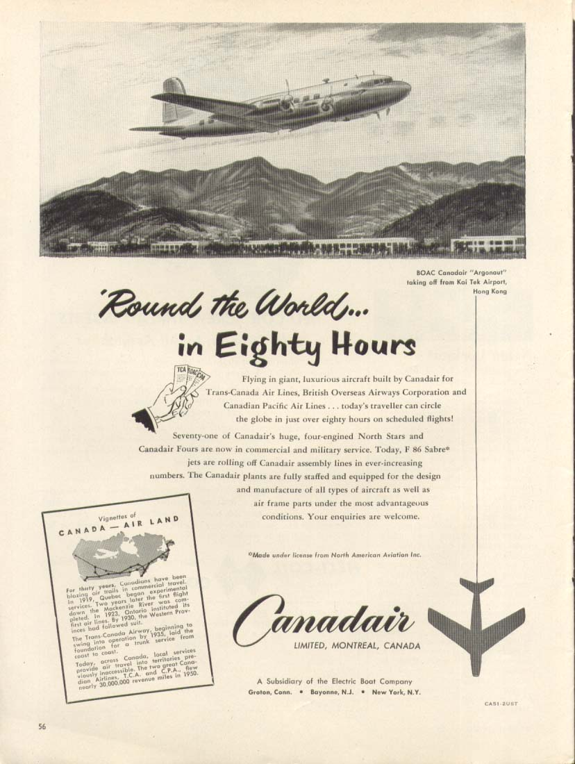 Image for Round the World 80 Hours Canadair Argonaut ad 1951