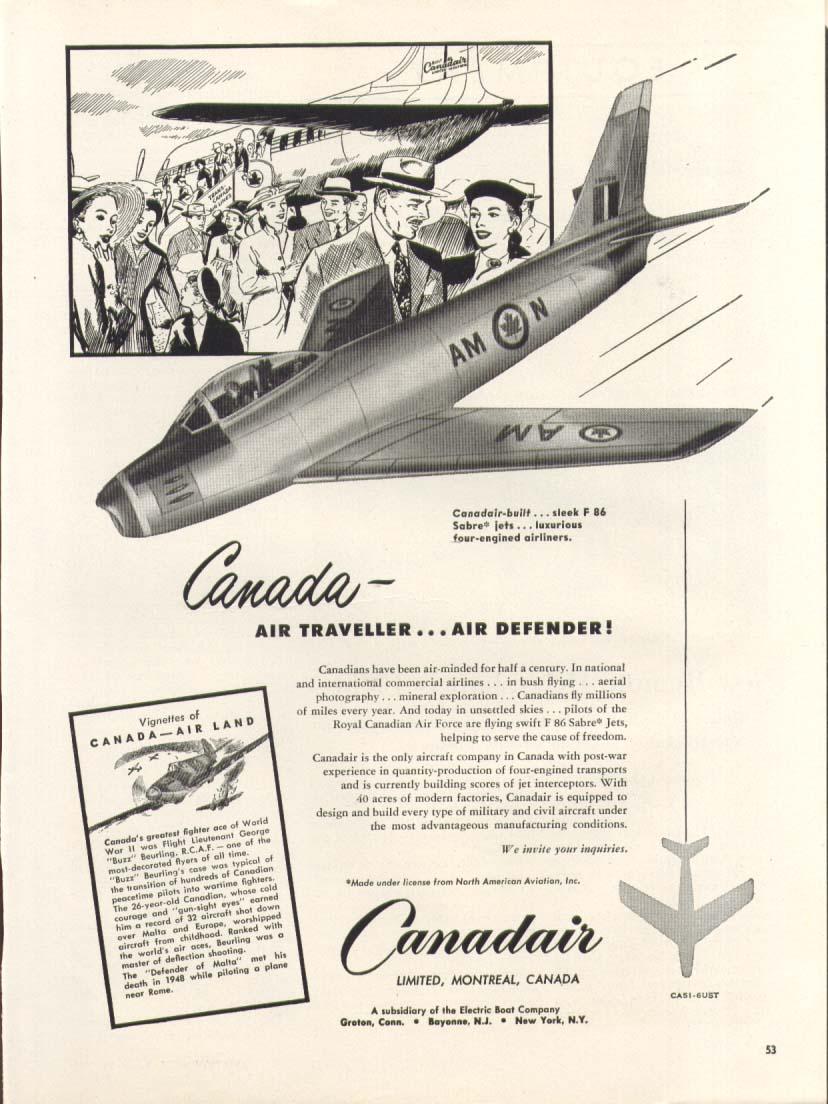 Image for F-86 Canadair Sabre Air Traveller & Defender ad 1951