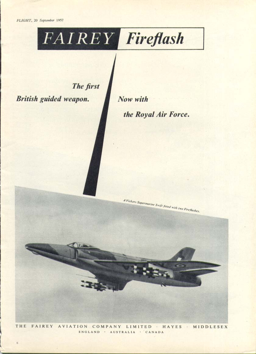1st British Guided Weapon Fairey Fireflash ad 1957