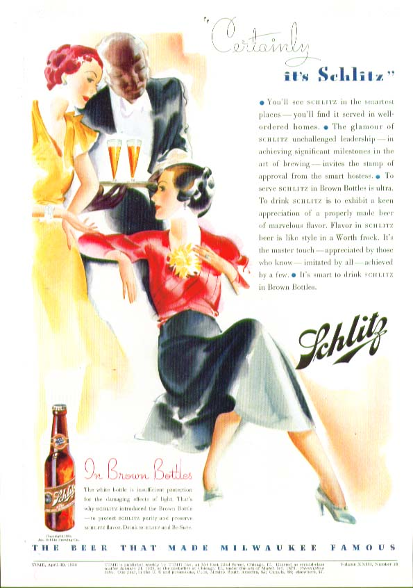 Image for Certainly it's Schlitz Beer negro waiter ad 1934