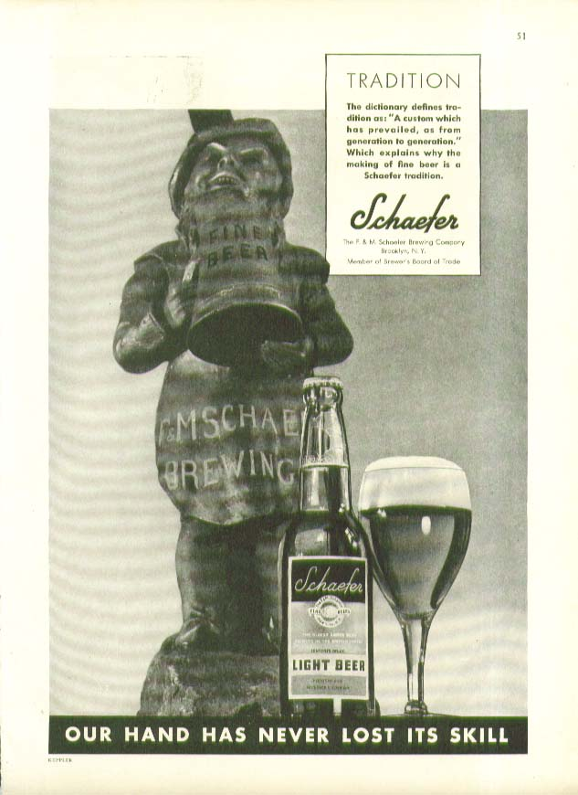 Tradition has prevailed Schaefer Beer ad 1934