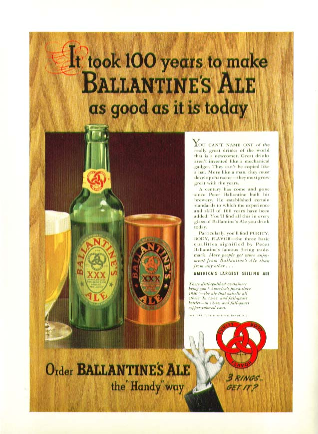 100 Years to make Ballantine Ale as good ad 1939