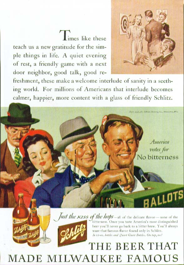America votes no bitterness Schlitz Beer ad 1943