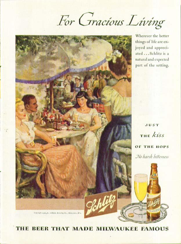Gracious Living outdoor café Schlitz Beer ad 1946