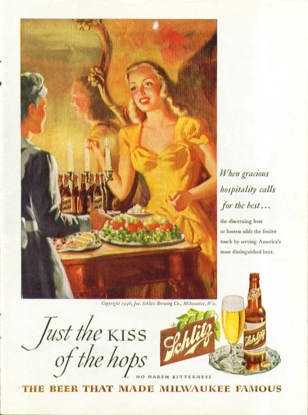 Gracious hospitality blond hostess Schlitz Beer ad 1946