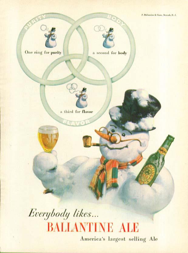Everybody likes Ballantine Ale snowman ad 1947