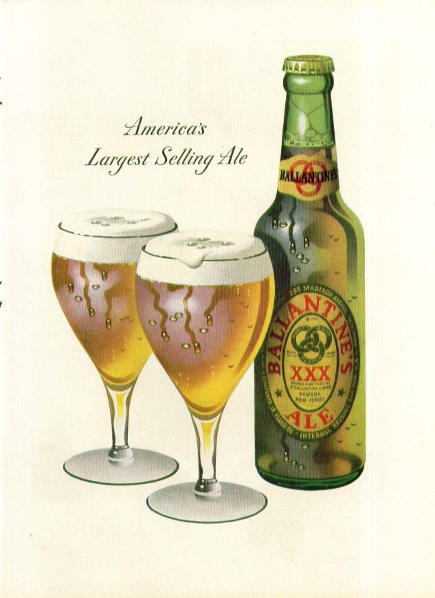America's Largest Selling Ale Ballantine ad 1947