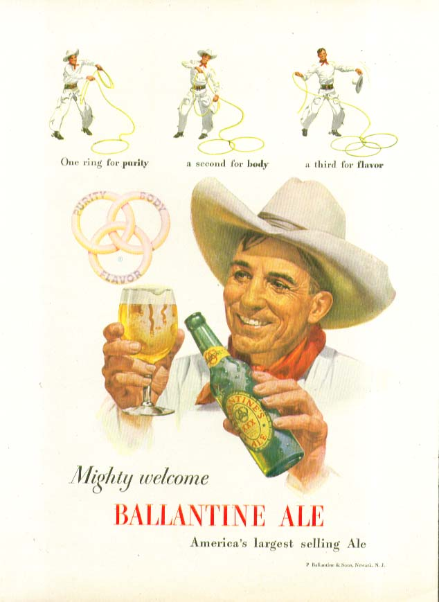 Mighty welcome Ballantine Ale three rings ad1948 rodeo trick roper