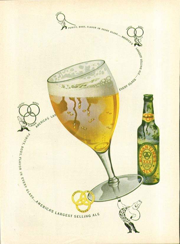 Purity Body Flavor in every glass Ballantine Ale ad 1948 strongman