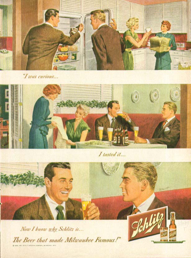 I was curious I tasted it now I know why Schlitz Beer ad 1949 couple at home