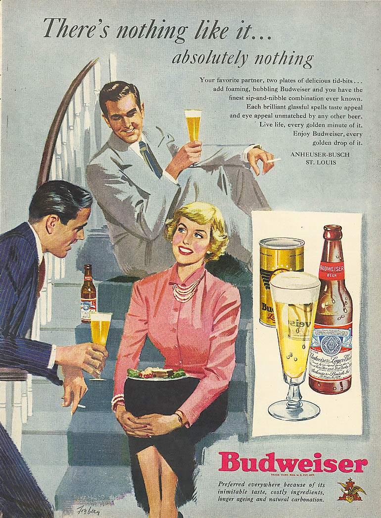 Image for Nothing like it 2 guys gal party Budweiser beer ad 1949